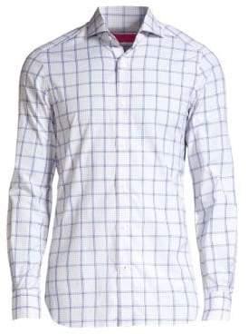 Isaia Windowpane Check Button-Down Shirt
