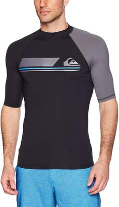 Quiksilver Men's Active Short Sleeve Rashguard Swim Shirt UPF 50+, Black/Iron Gate, XL