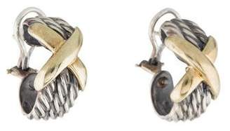 David Yurman Two-Tone X Hoop Earrings