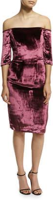 Milly Slim Off-the-Shoulder Panne Velvet Cocktail Dress