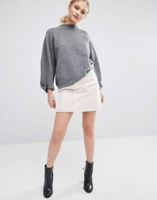 J.o.a. Faux Shearling Mini Skirt