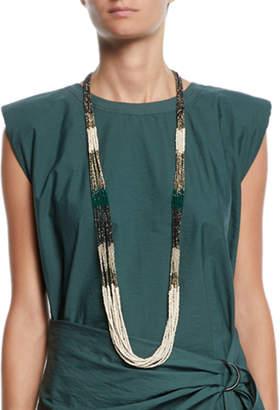 Brunello Cucinelli Long Stone & Glass Multi-Strand Necklace