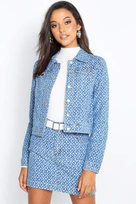 boohoo Geometric Denim Jacket