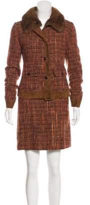 Dolce & Gabbana Fur-Trimmed Tweed Skirt Set