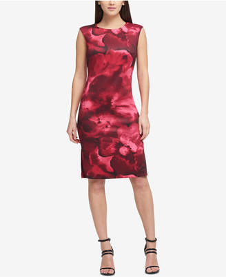DKNY Faded Floral Scuba Sheath Dress, Created for Macy's