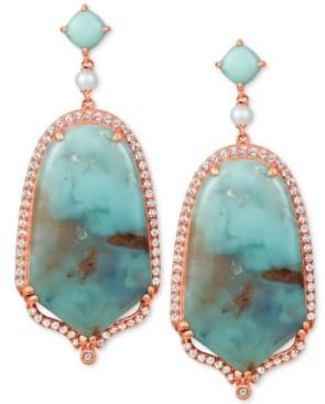 LeVian Le Vian Sky Aquaprase (30x17mm & 5x5mm) & Multi-Stone Drop Earrings in 14k Rose Gold, Created for Macy's