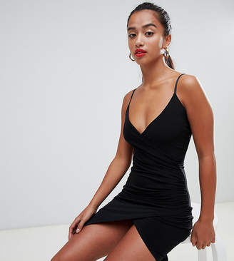 Missguided Petite petite slinky wrap mini dress in black