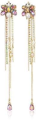 Betsey Johnson Womens Blooming Betsey Pink and Pearl Insect Front Back Linear Drop Earrings
