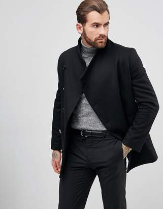 Religion Asymetric Button Cropped Overcoat