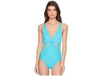 MICHAEL Michael Kors Layered Illusion V-Neck One-Piece Swimsuit w/ Mesh Insert Removable Soft Cups