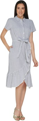 Isaac Mizrahi Live! Seersucker Shirt Dress with Ruffle