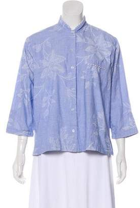 Oscar de la Renta Long Sleeve Button-Up Blouse