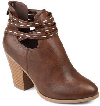 Co Brinley Women's Faux Leather Strappy Chunky Stacked Heel Booties
