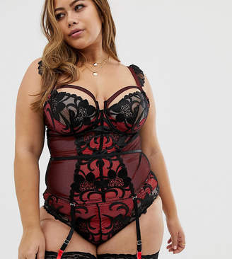 ef0e9743a7 Figleaves Curve Fever lace basque with suspender detail in red   black