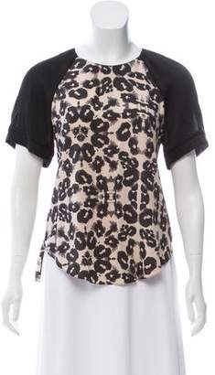 Rebecca Taylor Animal Print Short Sleeve Top