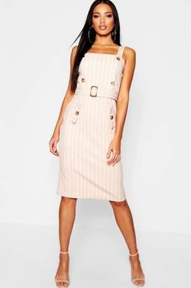 boohoo Tonal Stripe Belted Pinafore Dress