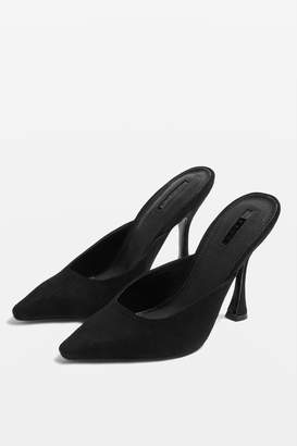 Topshop Womens Gloss Pointed Mules - Black