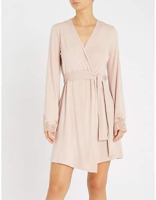 I.D. Sarrieri Lace-trim jersey dressing gown