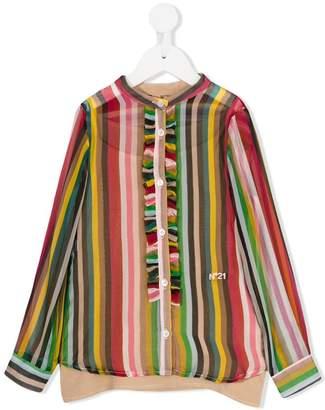 No.21 Kids striped ruffle shirt