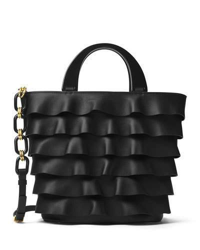 MICHAEL Michael Kors Michael Kors Stanwyck Ruffled Leather Tote Bag, Black