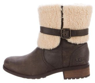 UGG Australia Shearling-Trimmed Suede Ankle Boots $130 thestylecure.com