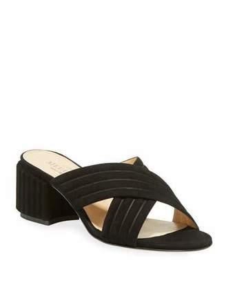 Sesto Meucci Maggy Block-Heel Suede Slide Sandal
