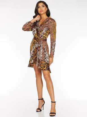Quiz Satin Animal Wrap Dress with Frill Hem And Tie Belt - Brown/Mustard