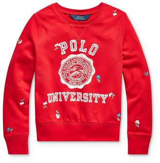 Ralph Lauren Girls' Embroidered Graphic Sweatshirt - Big Kid