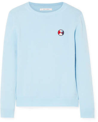 Chinti and Parker Mexicano Love Appliquéd Cashmere Sweater - Blue