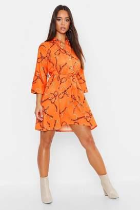 boohoo Woven Chain Print Belted Shirt Dress
