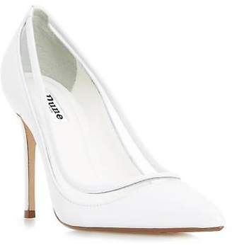 Dune Ladies BREEZ Transparent Detail Pointed Toe Court Shoe in White Size UK 8