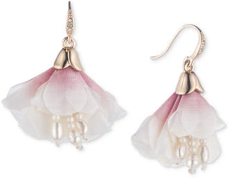 Carolee Gold-Tone Crystal & Imitation Pearl Pink Fabric Flower Drop Earrings