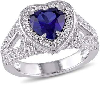 Tangelo 4-3/8 Carat T.G.W. Created Blue and White Sapphire Sterling Silver Halo Heart Engagement Ring
