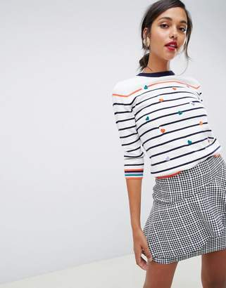 Oasis crew neck sweater with embroidered hearts in stripe