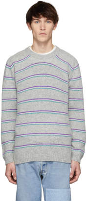 Noah Nyc Noah NYC Grey Three Stripe Sweater