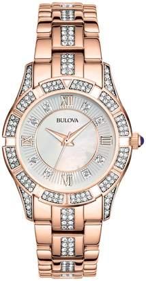 Bulova Women's Crystal Analog Quartz Swarovski Crystal Accented Bracelet Watch, 30.5mm