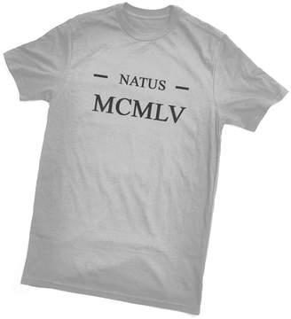 Bertie Natus MCMLV T-Shirt (Born 1955 in Latin/Roman Numerals) by, Grey, Unisex XL/47inch Chest