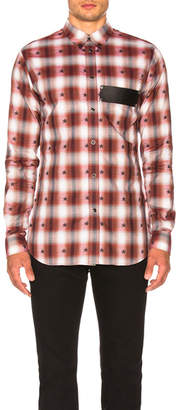 Givenchy Check Shirt with Leather Logo Band