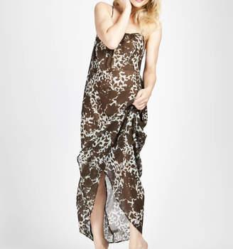 3040c5a45dc The Silk Boutique Semi Sheer Floral Print Silk Chiffon Maxi Dress