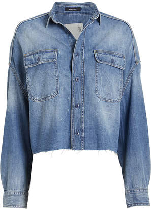 R 13 Distressed Denim Cropped Shirt