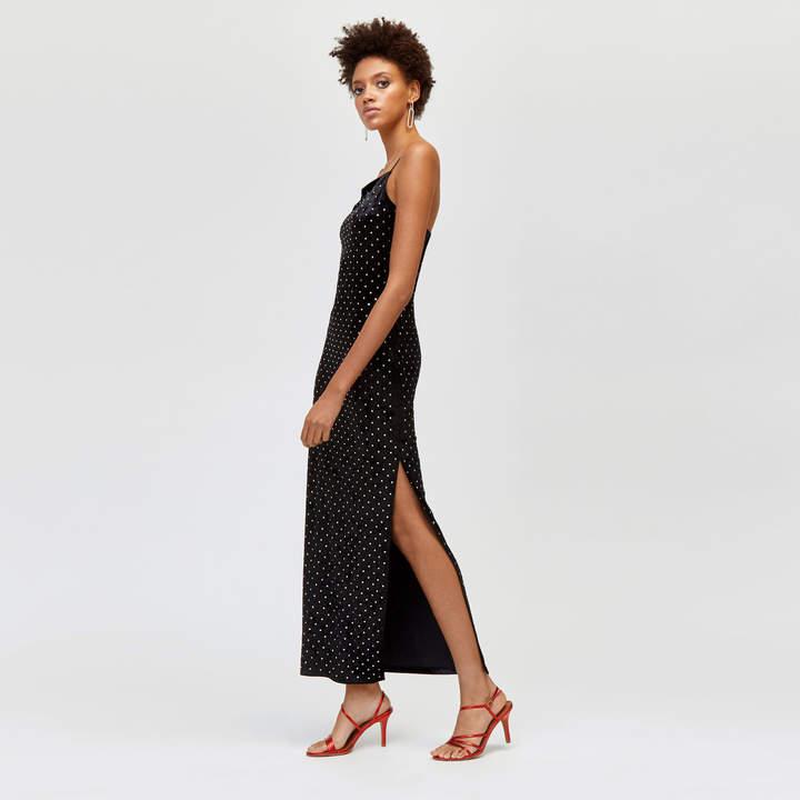 Velvet Embellished Maxi Dress
