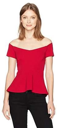 Nicole Miller Women's Structured Heavy Jersey Off Shoulder Top