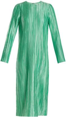 Tibi Plissé-pleated long-sleeved midi dress