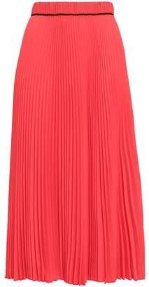Marc Jacobs Grosgrain-Trimmed Pleated Crepe Midi Skirt