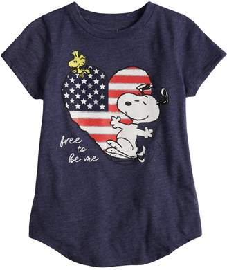 "Girls 4-10 Jumping Beans Peanuts Snoopy "" Free To Be Me"" Tee"