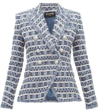 Balmain Double Breasted Fringed Tweed Jacket - Womens - Blue White