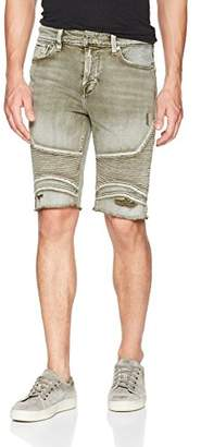 GUESS Men's Slim Moto Short with Destroy