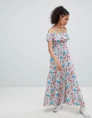 Rock & Religion Off Shoulder Floral Maxi Dress