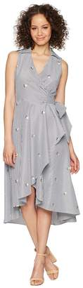 Calvin Klein Flower Embroidered High-Low Dress with Tie Waist CD8G39KG Women's Dress