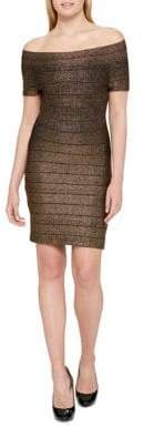 GUESS Stripe Off-The-Shoulder Dress